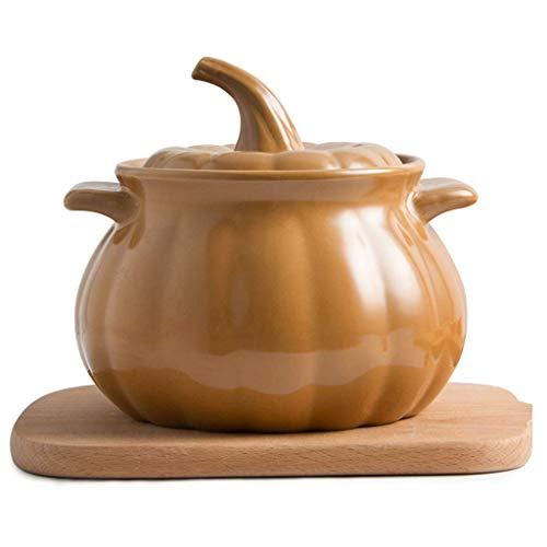 HaoLi Casserole en céramique à la Citrouille Cocotte, Faitout résistant à la Chaleur, Casserole pour la santé de la Cuisine, Ustensiles de Cuisine en Argile Flamme Ouverte, Marmite créative de Grande