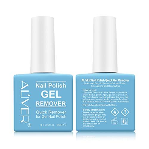 Nail Polish Remover, 2pcs Nail Varnish Remover, Easily & Quickly Remove Nail Polish, Soak-Off Gel Polish, Won't Hurt Your Nails, Removes Gel Polish in 3-5 Minutes (2 x 15ml)