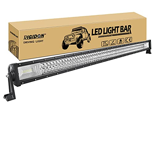 RIGIDON Barra de luz led, 12V 24V 50 pulgadas 648W, 7D Tri fila Barras luminosas led para off road camión coche ATV SUV 4x4 barco, Foco Inundación Combo, lámpara de conducción 6000K