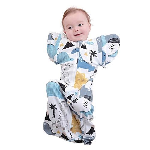 Babyschlafsack Wendeschlafsack Baby Steppdecke mit abnehmbaren Ärmeln Anti-Sprung Anti-Kratzer Schlafsack Ganzjahres Neugeborenen 0-9 Monate mit Wachsend (Dinosaurier, S,64cm)