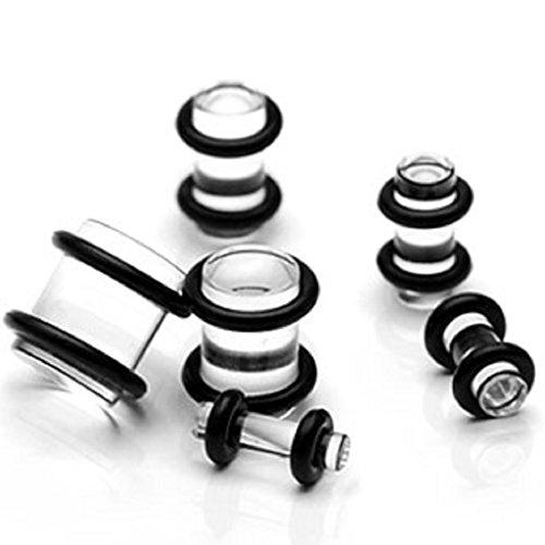 PunkJewelry Piercing Dehner Plug Expander helder Set van 6 acryl (kunststof)
