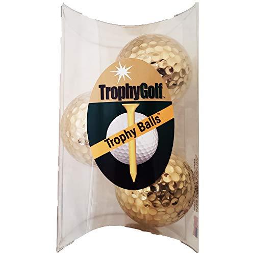 TROPHYGOLF 3 Shiny Golf Balls, Gold
