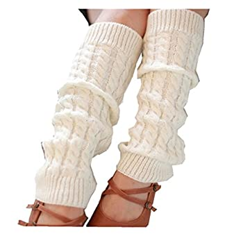 Leg Warmers,Haoricu Fashion Women Winter Warm Leg Warmers Knitted Crochet Long Socks  White
