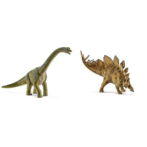 Schleich 14581 Dinosaurs Spielfigur - Brachiosaurus, Spielzeug ab 4 Jahren & 14568 Dinosaurs Spielfigur - Stegosaurus, Spielzeug ab 4 Jahren