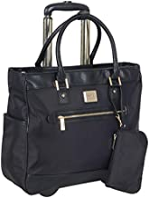 Kenneth Cole Reaction Runway Call Nylon-Twill Laptop & Tablet Business Travel, Black Wheeled Tote, One Size