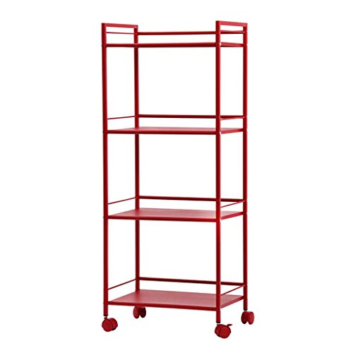 Yxx max Storage Organiser Shelving Units Multi-Function Home Living Room Kitchen Microwave Oven Rack Toast Storage Rack Flower Stand with Wheel Finishing Rack Red