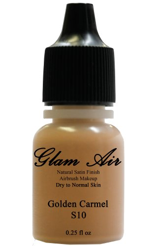 Glam Air Air Brush Makeup Foundation in Satin Finish Great for Dry Skin in 0.25 Fl Oz Bottle (S10 GOLDEN CARMEL) by Glamair