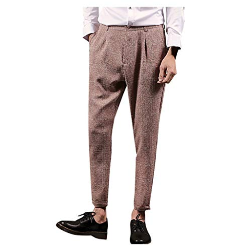 Aliturtle Men's Fashion Straght Chino Twill Pants Expandable-Waist Plain-Front Slim Fit Casual Trouses Suit Pant(Coffee,32)
