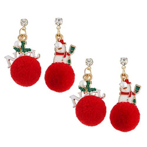ABOOFAN 2 Pares de Pendientes de Navidad Muñeco de Nieve Pom Pom Cuelgan Pendientes de Gota Regalo de Joyería de Vacaciones de Navidad Disfraz de Navidad para Mujer