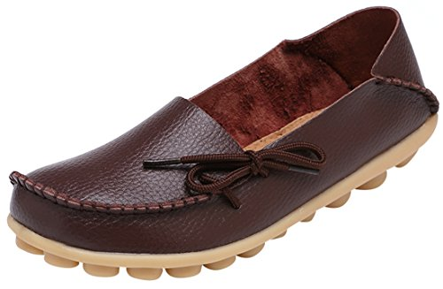 Serene Womens Dark Brown Leather Cowhide Casual Lace Up Flat Driving...