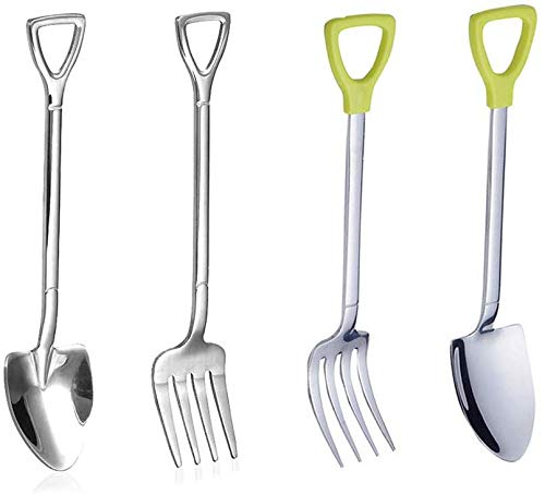 YAIKOAI 4 Pieces Stainless Steel Fork Spoon Set Novelty Shovel Shape Spoons Coffee Ice Cream Tea Dessert Cake Flatware Cutlery for Daily Use Party Picnic Restaurant Hotel