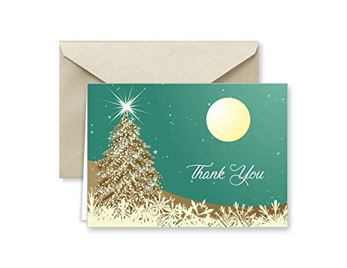 Paper Frenzy Colorful Holiday Horizon Christmas Thank You Note Cards with Cocoa Shimmer Envelopes - 25 pack