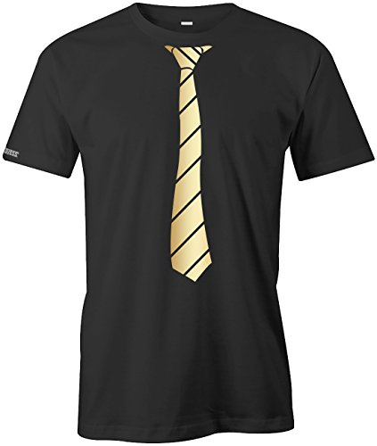 Jayess JGA - Krawatte Business Style - Herren T-Shirt in Schwarz-Gold by Gr. S
