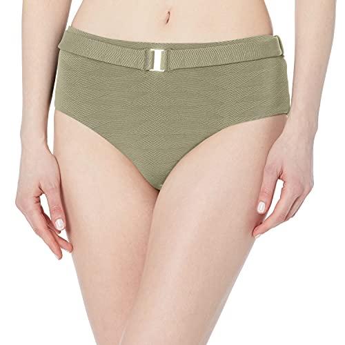 Seafolly Women's Wide Side Retro Fit Bikini Bottom Swimsuit with Belt, Seaside Soiree Thyme, 4
