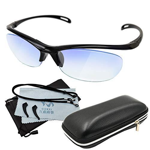 GOKEI メガネルーペ 1.6倍 【ブルーライトカット】 拡大鏡 めがね ルーペメガネ ルーペ メガネ型拡大鏡 眼鏡ルーペ 6点セット ブラック