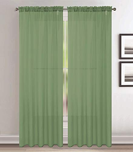Jody Clarke 2pc Set Sheer Voile Window Treatment Rod Pocket Curtain Panels for Bedroom and Living Room Assorted Colors & Sizes Solid Stitched & Hemmed(Sage, 2PC 54 X 84)