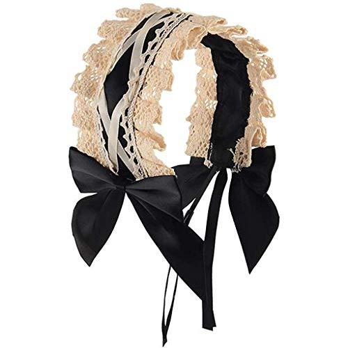 HULKY Accessoires Cheveux Lolita Gothique Cosplay Lolita Bandeau Dentelle Femme De Ménage Château Elfe Cascade De Cheveux Bandeaux Mode Perles Dentelle Bande Large Bande De Cheveux Hoop