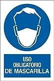 akrocard - Cartel resistente PVC- USO OBLIGATORIO DE MASCARILLA - señaletica COVID 19 - ideal para colgar y advertir