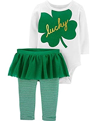 Carters Baby Girls Happy Go Lucky Top and Leggings Set (3 Months, Green/White)