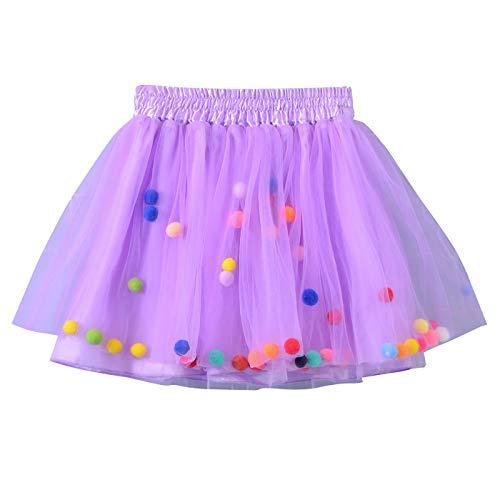 Happy Cherry Baby Mädcehn Tüllrock Mit Süß kleinball Ball Tanzkleid Ballett Rock Tütü Tanz Tutu Petticoat Clubwear Ruffle Unterrock Kostüm Tüllrock in Lila Größe S