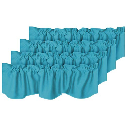 Room Darkening Curtain Valances for Windows Blue Rod Pocket Scalloped Valances for Bedroom, Set of 4 Pack, Turquoise Blue, 52 inch by 18 inch