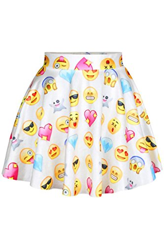 Herose Teen Girls Daily Cute Facebook Emoji Printed Outerwear Skirt One Size White