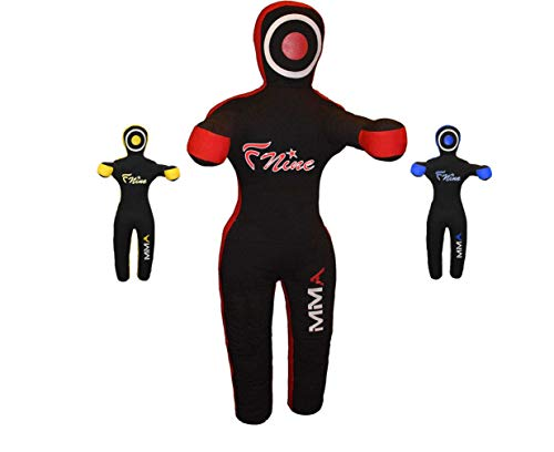 """FNine MMA Grappling Dummy, for Judo, Wrestling, Brazilian Jiu Jitsu, Submission and Throwing UNFILLED Canvas Bag (Black and Red, 47"""")"""