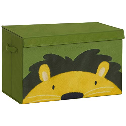 SONGMICS Aufbewahrungsbox, Spielzeug-Organizer, Faltbox, Stoffbox mit 2 Griffen und Deckel, Aufbewahrungskiste, 60 x 35 x 38 cm, für Kinderzimmer, Spielzimmer, Schlafzimmer, grün-gelb RFB741C01