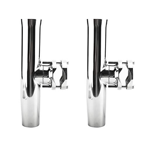 PetierWeit [2 Pcs] Stainless Steel Clamp on Rod Holder Tournament Style for Rails 1-1/4' to 2', Boat Marine Fishing Rod Holder