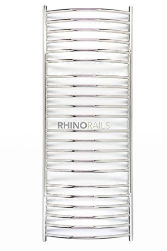 Rhinorails 1550mm x 600mm Inflecto curvo in acciaio INOX Scaldasalviette   Design termosifone da bagno, finitura in acciaio INOX lucidato