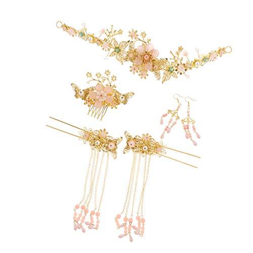 F Fityle Golden Hochzeits-Haarnadel Haarschmuck Braut Kostüm Kopfschmuck Gesetzt Chinesischen