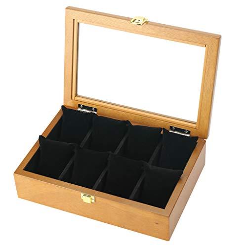 Hölzerne 8 Grids Watch Box Schmuck klare Vitrine Aufbewahrungsbox mit Glasdeckel und abnehmbare weiche Kissen braune Kissen für Männer Frauen Sammelboxen
