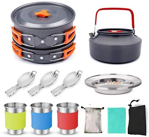 Camping Arts de la table Set, for 2-3 personnes Batterie de cuisine, Teapot, vaisselle, ustensiles, marche, la randonnée, la préparation aux urgences, ou dans le cadre d'une trousse de survie, orange