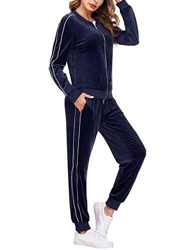 Irevial Conjunto de Chándal para Mujer de algodón,chándal de Mujer Completo de Terciopelo,Trajes de Manga Larga Sudadera con Cremallera y Pantalones Largos de Cintura Alta 2 Piezas,Invierno