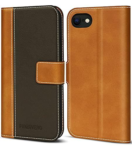 Pinzoveno Hülle für iPhone SE 2020 iPhone 8 hülle iPhone 7 Handyhülle Premium PU Leder Schutzhülle Abdeckung Magnetverschluss Flip Hülle Tasche Brieftasche Etui für iPhone SE 2020/8/7(4,7 Zoll) Braun