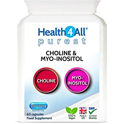 Choline 250 mg & Myo-Inositol 250mg 60 Capsules (V) Purest - no additives for Mood, Learning, Memory Support and Liver Support. Made by Health4All