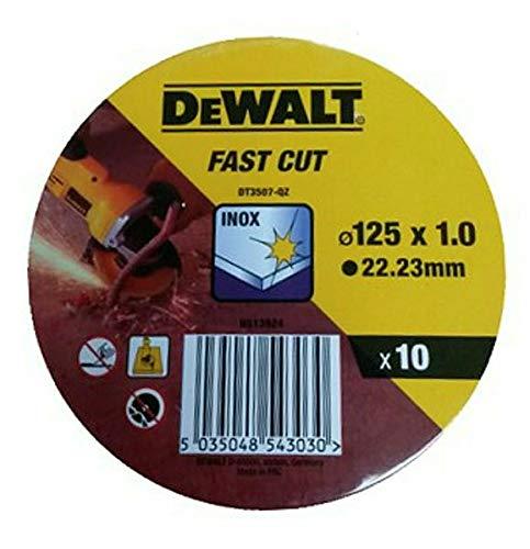 DeWalt DT3507-QZ DT3507-QZ-Lata com 10 Discos de Corte de Alto desempeño para Acero INOX 125 x 1 x 22.23mm