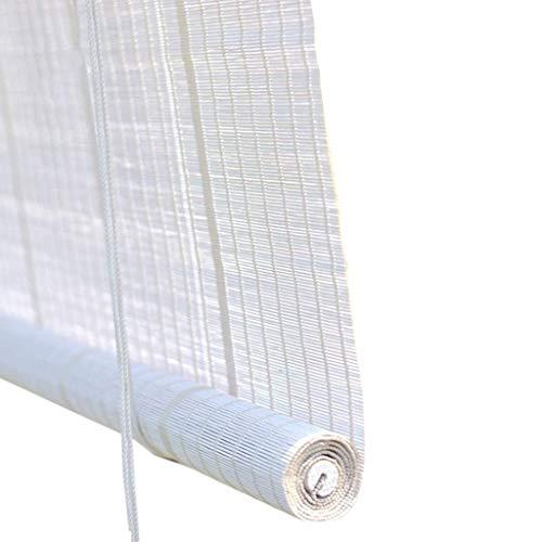 ZAQI Estores enrollables Persianas enrollables Anchas de 80/100/120 cm / 135 cm for el Patio al Aire Libre del Patio, persianas Opacas de bambú Estilo japonés, Blanco (Size : 135×140cm)