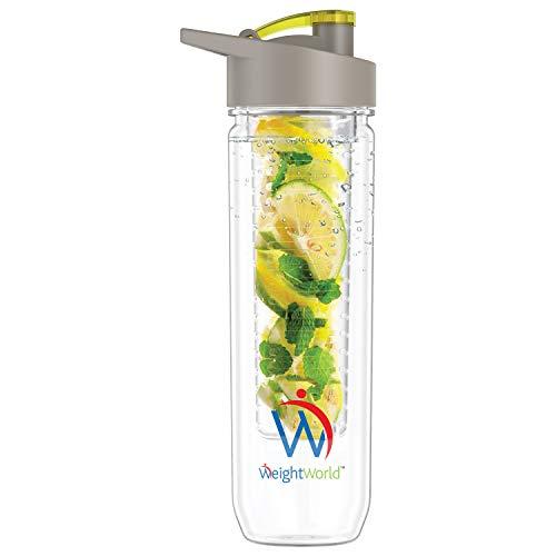 BOTTIGLIA ACQUA Aromatizzata con Infusore Frutta 800ml - Bottiglia In Plastica Riutilizzabile Senza BPA per Acqua Detox con Filtro - Per Scuola, Accessori Viaggio, Palestra, Ufficio - WeightWorld