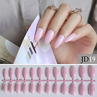 Jienie 24PCS Full sets DIY false nails pink Golden onion powder Gold pattern fake nais with sticky Sharp design - (Color: JD-19)