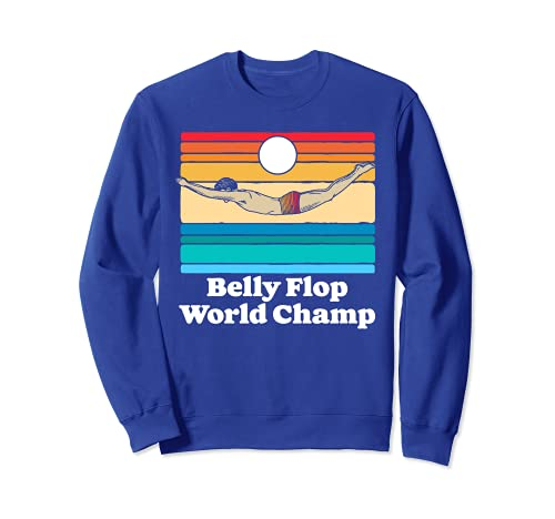Belly Flop Champion Funny 80s Vintage Diving Swimmer Graphic Sudadera
