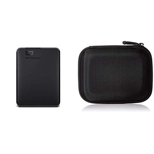 WD Elements - Disco Duro Externo portátil de 2 TB con USB 3.0, Color Negro & AmazonBasics - Funda para Disco Duro Externo, Color Negro, 13.2 x 10.5 x 3.8 cm