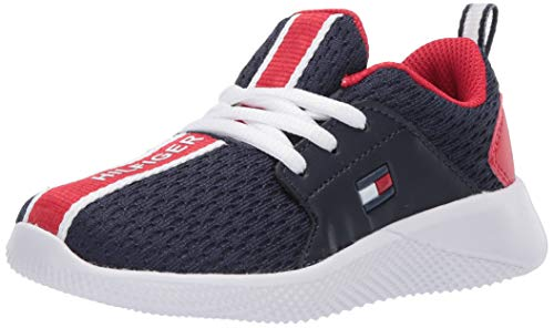 Tommy Hilfiger Unisex-Kid's TH Cadet LACE Sneaker, Navy/Red, 12 Child US Little Kid