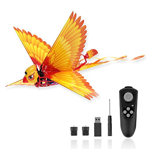 Go Go Bird Remote Control Bird Toy, RC Helicopters, Bionic Flying Bird Toys, Mini Drone-Tech Toy, Smart Flying Easy Control Indoor Outdoor RC Toy for Kids, Boys and Girls, Go Go Bird, Yellow