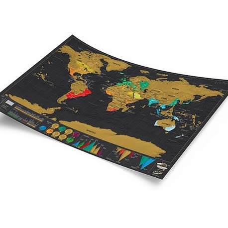 Small World Scratch Map – World Travel Map with Carrying Tube – Deluxe Scratch Off Map – Fun & Colorful Scratch Poster – Black & Gold Photo #2