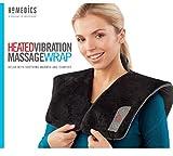 Vibration Massage Wrap with Subtle Heat | Adjustable Intensity, Soft Fabric | Shoulder Massage, Relieves Neck, Upper Back, Shoulder Tension | Black