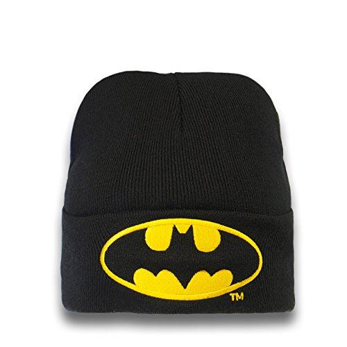 Logoshirt Bonnet en Laine Batman Logo - Bonnet DC Comics - Super-héros - avec Logo brodé - Noir - Design Original sous Licence