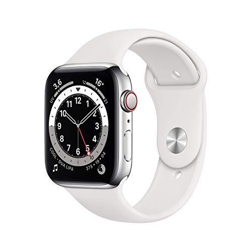 AppleWatch Series6 (GPS+Cellular, 44mm) Cassa in acciaio inossidabile color argento con Cinturino Sport bianco