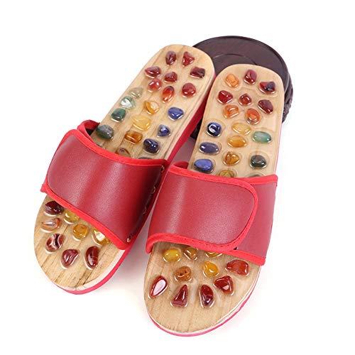 Byjia Akupressur Hausschuhe, Shiatsu Stone Fußmassagegerät Erwachsenen Sandalen Reflexzonen Schuh,Rot,38