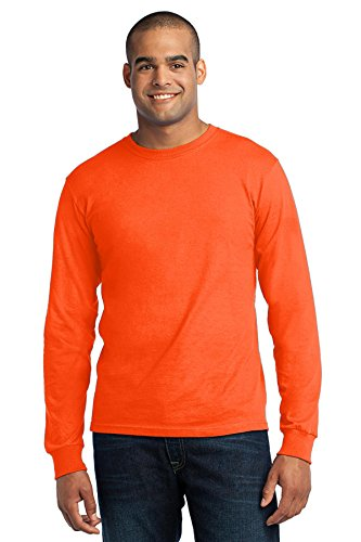 Port & Company® - Long Sleeve All-American Tee. USA100LS Safety Orange 2XL